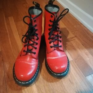 Dr. Martens Shoes - Dr. Martens Satchel Red smooth leather 1460W boots